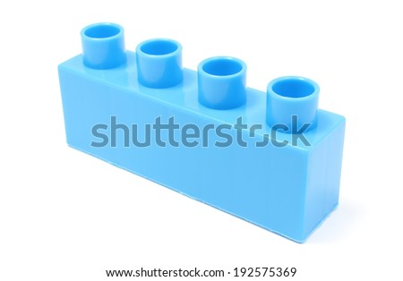 Closeup of blue building block, building blocks for children. Isolated on white background