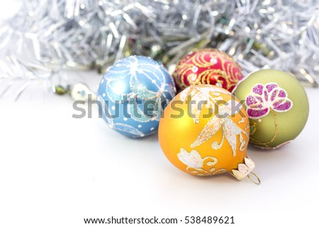 Closeup of blue Christmas balls and on white background