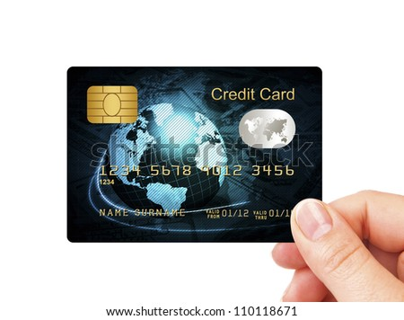 closeup of blue credit card holded by hand over white background - stock photo