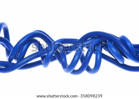 Closeup of blue electric cable isolated on white background - stock photo