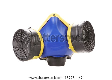 Closeup of blue gas mask. Isolated on a white background. - stock photo