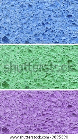 closeup of blue, green and purples sponges - stock photo