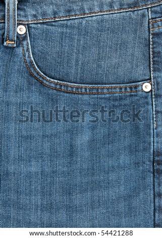 closeup of blue jeans  pocket - stock photo