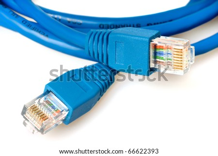 Closeup of blue network cable with jack - stock photo