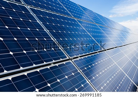 Closeup of blue photovoltaic solar panels