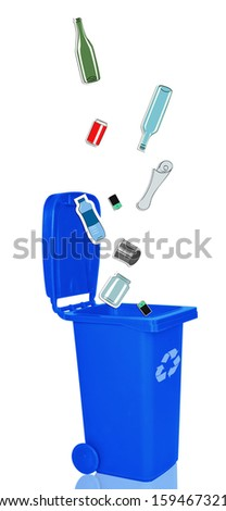 Closeup of blue recycle bin with open lid and recyclable materials - stock photo