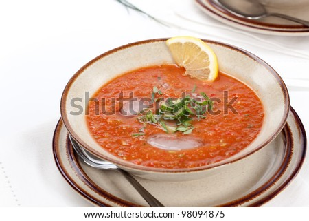 Closeup of bowl of delicious cold Gazpacho soup with cucumber - avocado salsa. Good summer time appetizer. - stock photo