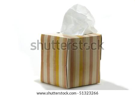 Closeup of box of white, anti-viral facial tissue  on a white background - stock photo