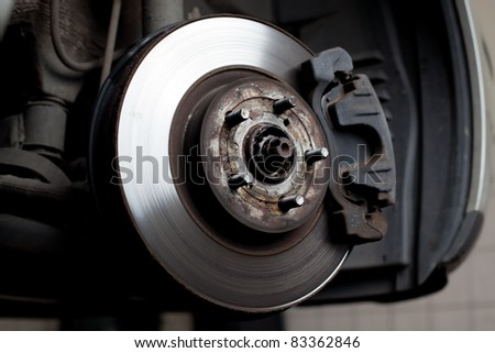 Closeup of brake disc mounted on car