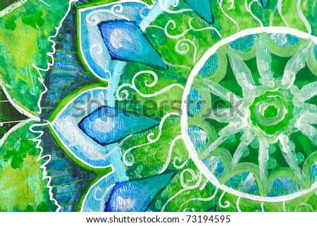 closeup of bright green painted picture with circle pattern, mandala of anahata chakra - stock photo
