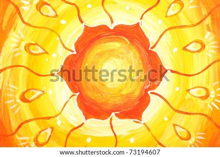 closeup of bright orange painted picture with circle pattern, mandala of svadhisthana chakra - stock photo