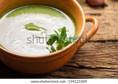 Closeup of broccoli cream soup - stock photo