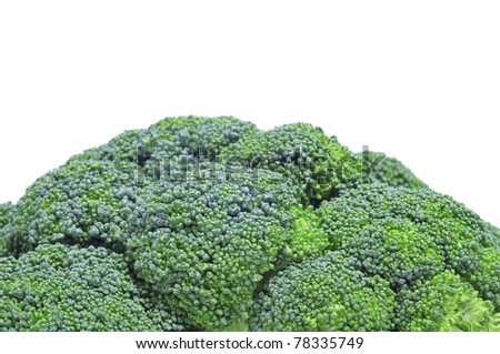 closeup of broccoli on a white background