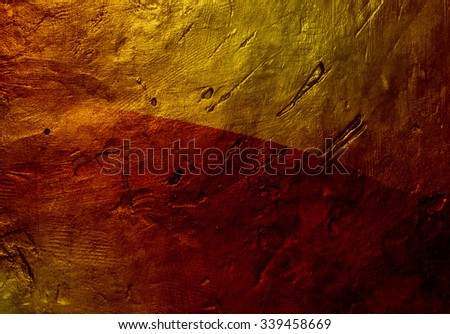 Closeup of bronze texture overlaid with colorful pattern - stock photo