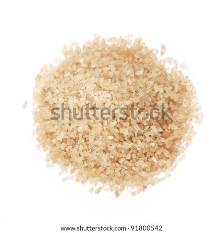 Closeup of brown sugar isolated on white background - stock photo