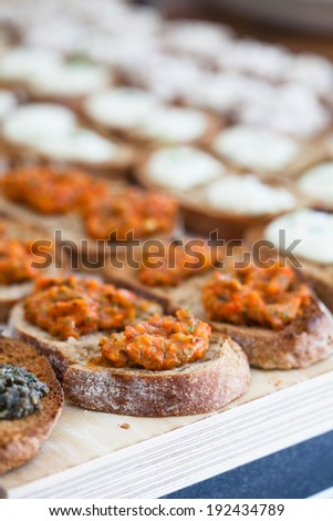 Closeup of bruschetta appetizers with savoury paste topping and mozzarella cheese pieces presented in rows - stock photo