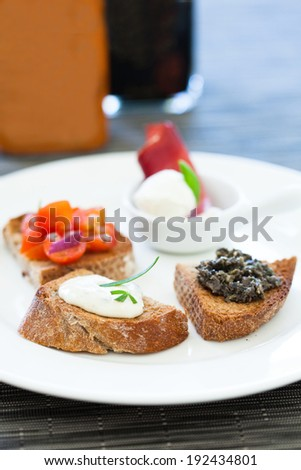Closeup of bruschetta appetizers with tomato and savoury paste and mozzarella cheese toppings on white plate - stock photo