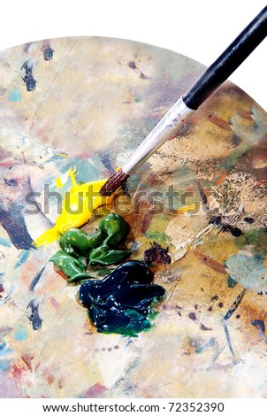 closeup of brush and palette - stock photo