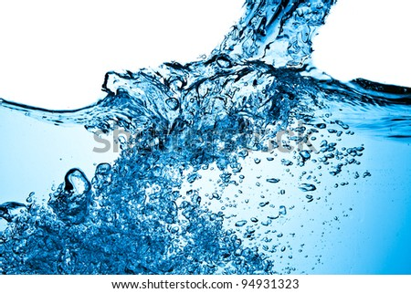closeup of bubbles in blue water - stock photo