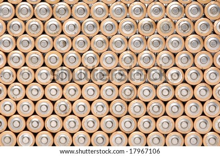 Closeup of bunch of batteries