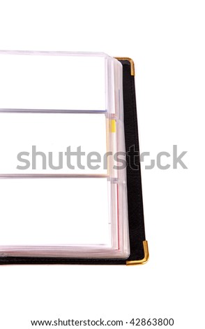 Closeup of business card book over white background - stock photo
