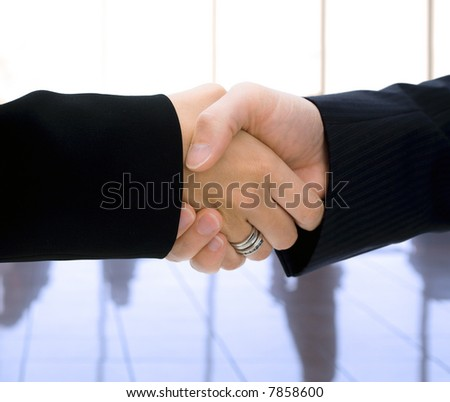 Closeup of business people (male and female) shaking hands.