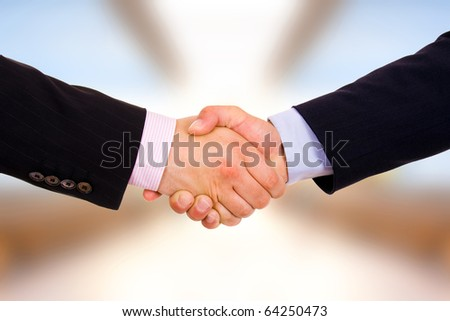 Closeup of business people shaking hands at the office - stock photo