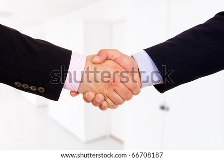 Closeup of business people shaking hands at the office