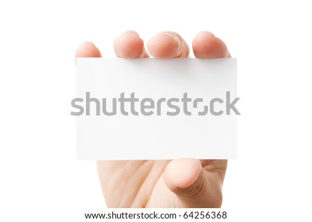 Closeup of businessman's hand holding blank paper business card for your message (copy space), isolated on white background - stock photo