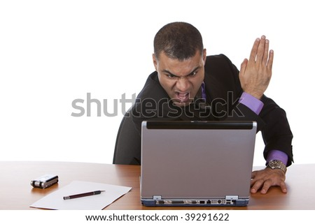 Closeup of businessman which is stressed, because of a computer problem. Isolated on white. - stock photo