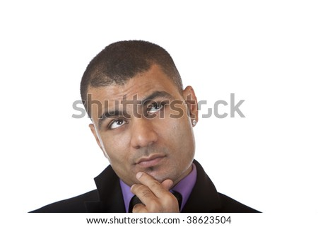 Closeup of businessman which looks contemplative into camera. Isolated on white background.