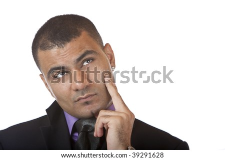 Closeup of businessman which looks contemplative into camera. Isolated on white background. - stock photo