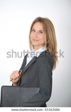 Closeup of businesswoman on white background