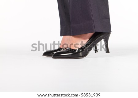 closeup of businesswoman shoes - stock photo