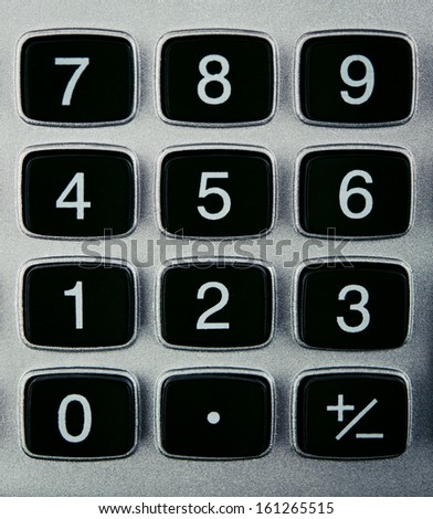 closeup of calculator buttons on background