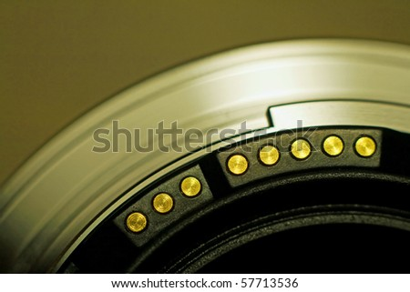 Closeup of camera lens - stock photo