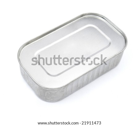 closeup of can of sardines on white background, with clipping path