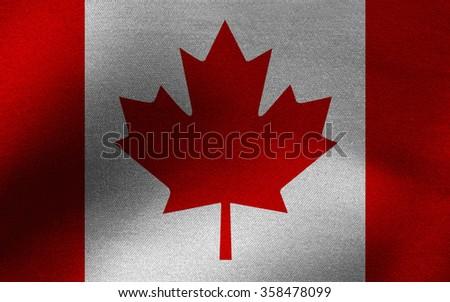 Closeup of Canada flag - stock photo