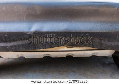 closeup of car crash, be hollow on the body car - stock photo