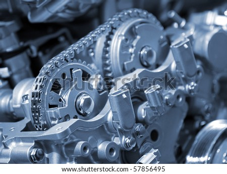 Closeup of car engine chain and gears - stock photo