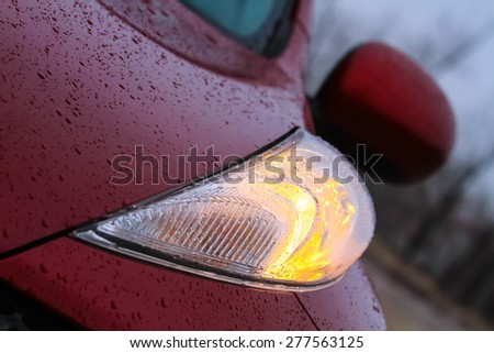 Closeup of car headlight