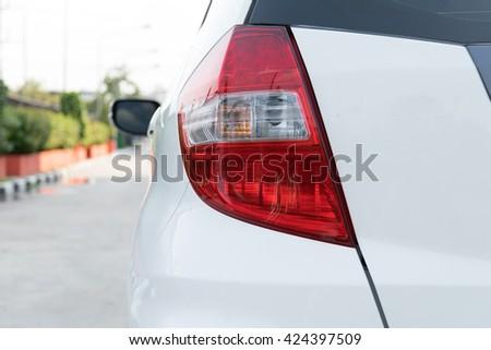 Closeup of car taillight - stock photo