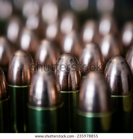 Closeup of cartridges pistols ammo.  - stock photo