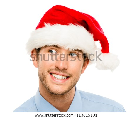 Closeup of caucasian man wearing christmas hat for santa isolated on white background
