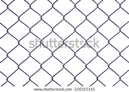 closeup of chainlink  isolated on white background