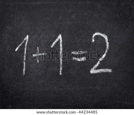 closeup of chalkboard and simple math addition - stock photo