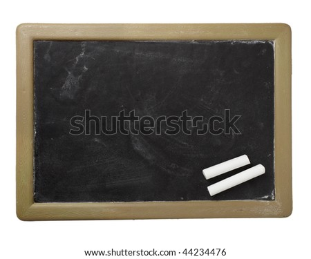 closeup of chalkboard on white background with clipping path - stock photo