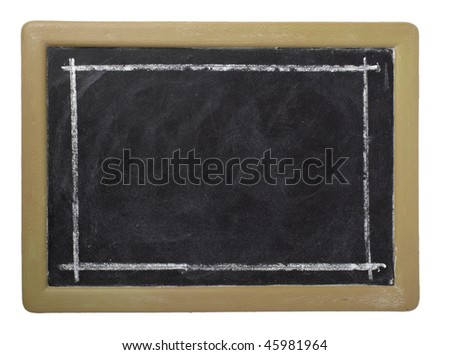 closeup of chalkboard on white background with clipping path