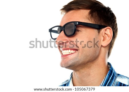 Closeup of cheerful adult male having a good laugh - stock photo