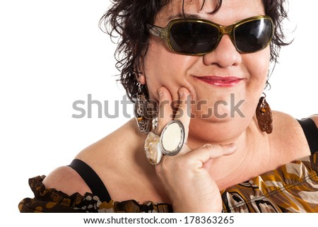 closeup of cheerful woman, isolated on white background